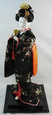 Authentic Japanese GEISHA Doll on Stand w Case, Large, 3D Art, Black w Red
