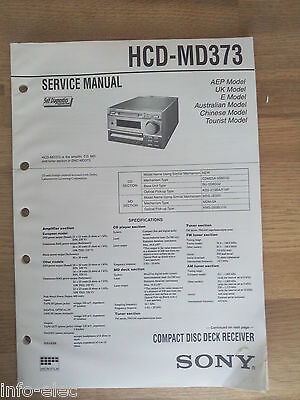 Schema SONY - Manuale Di Servizio Compact Disc Deck Receveir HCD-MD373 HCDMD373