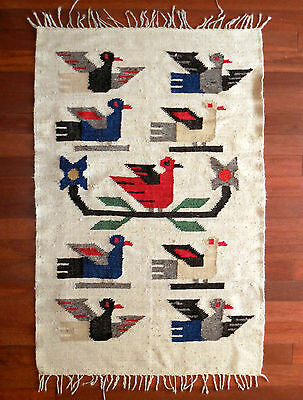 Peruvian Rug / Handwoven Wool Textile Wall Hanging, Figural Design, Vintage