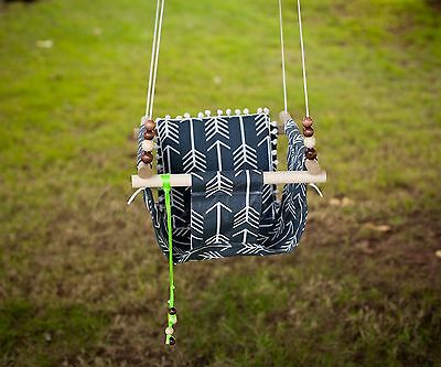 Baby Toddler Swing with Pom Pom Pillow Outdoor Indoor Handmaid Fabric Swing NEW