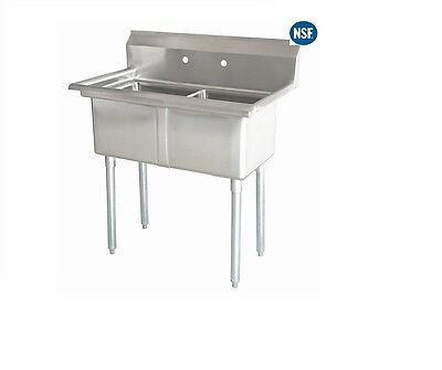 "Commercial Stainless Steel Two 2 Compartment Sink - 35""x21"" Bowl Size: 15""x15"""
