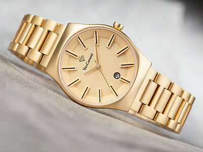 YVES CAMANI Louanne Womens Wrist Watch Stainless Steel Gold Plated Date New