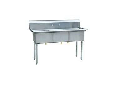"""Commercial Stainless Steel 3 Three Compartment Sink: 50""""x21"""" Bowl Size: 15""""x15"""""""