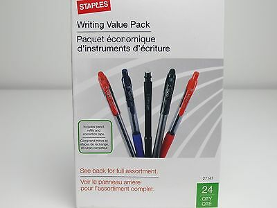 24 Pack Pens Pencils FREE Lead Eraser Refills Correct Tape Staples Writing Value
