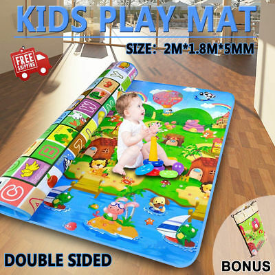 2mx1.8mx5mm Baby Kids Play Mat Floor Rug Picnic Cushion Crawling Mat Travel AU