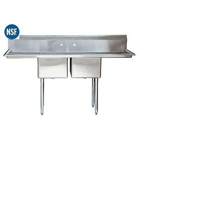 "Commercial Stainless Steel Two 2 Compartment Sink - 60""x21"" Bowl Size: 15""x15"""