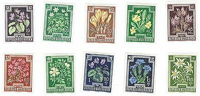 1948 Austria - Flowers - Charity Stamps - Complete Set of 10 Stamps