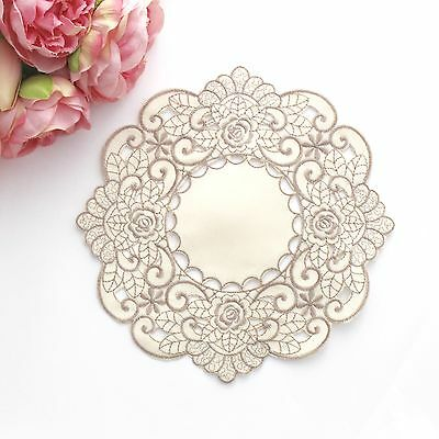 Embroidered doily in cream/beige 21 cm for millinery , hair and crafts