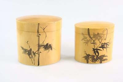 Pair Of Vintage Chinese Bamboo Handpainted Tea Caddy