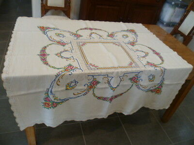 FLORAL DESIGN  CROSS STITCH  HAND EMBROIDERED TABLE CLOTH 120 cms x 120 cms