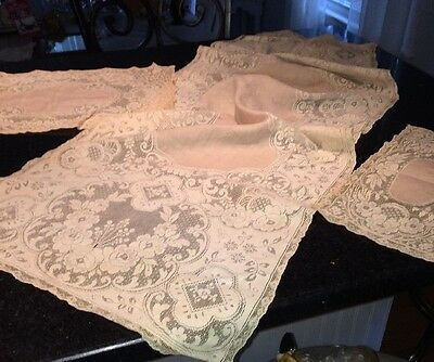 Three Antique Equisite hand made lace table runners dresser scarf Limerick