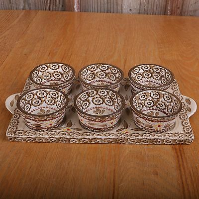 Temp-tations Presentable Ovenware By Tara Old World 6 Custard Cups and Plate