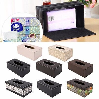 Tissue Box Leather PU Holder For Home Office Car Rectangular Multi-pattern New