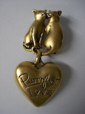 Purrrfect Love! Gold Tone Metal Cat Pin Brooch - 2 Loving Cats