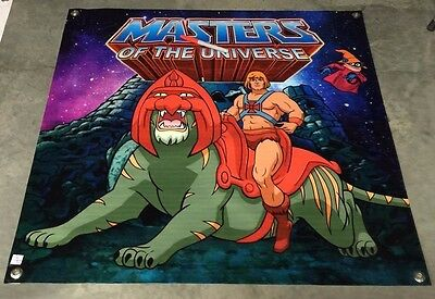 Masters of the universe poster he-man cat castle grayskull sword toy banner toy