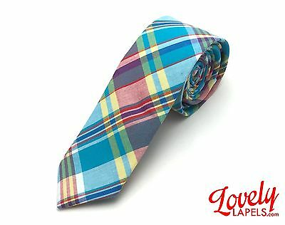 Plaid Skinny Tie - Teal, Red and Yellow Print Necktie