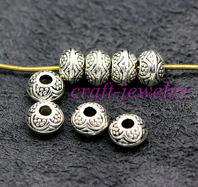 Tibetan Silver Bail Style Spacer Beads Findings 6.5x6mm 30-1000pcs hole 2mm 5#