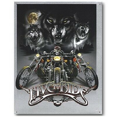 Live to Ride Wolves Motocycles Harley Indian Sturgis Wall Decor Metal Tin Sign