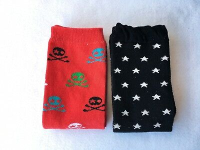 Baby Pirate or Black with white stars Toddler Child Leg Warmers