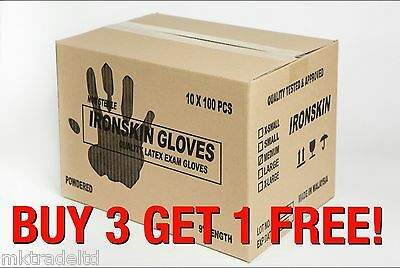 IRONSKIN Powdered Latex Disposable Gloves - Case of 1000. Size M