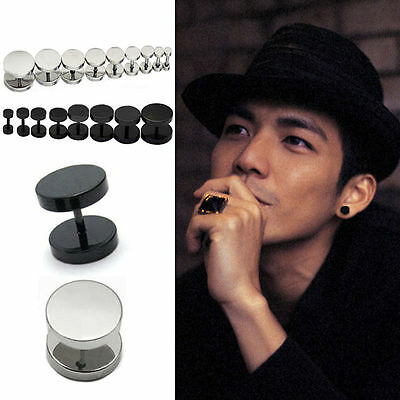 2 PCS Mens Barbell Punk Gothic Stainless Steel Ear Studs Earrings Unisex New RD