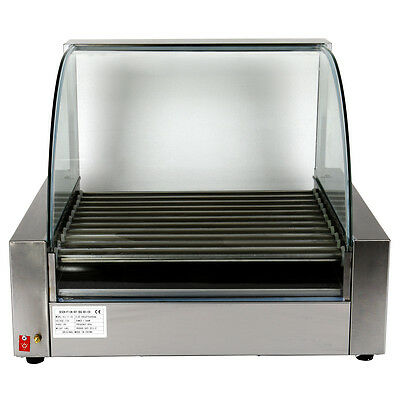 stainless 30 Hot dog Roller Commercial 11 Roller Grill Cooker Machine W/Cover