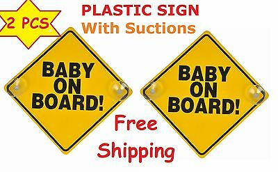 Lot of 4 Yellow Reflective Baby On Board Car Window Suction Cup Warning Sign