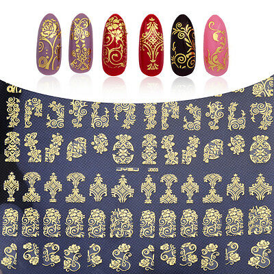 Nail Art Stickers Stamping 3D Decoration 108Pcs Flower Decals Tools DIY