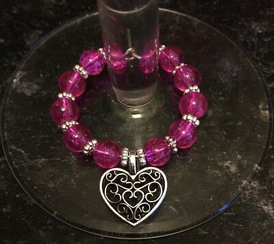 Hot Pink Wine Glass Charm, Tibetan Heart, Handmade, Stocking Filler