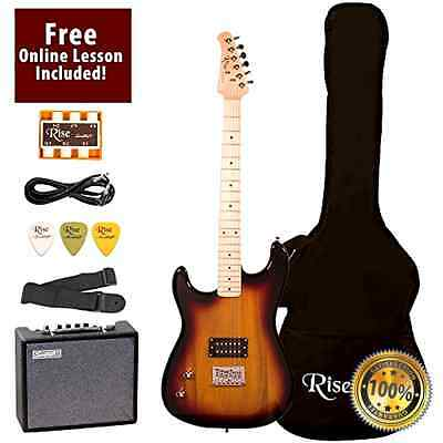 Rise by Sawtooth ST-RISE-ST-LH-SB-KIT-1 Electric Guitar Pack, Left Handed, Sunbu