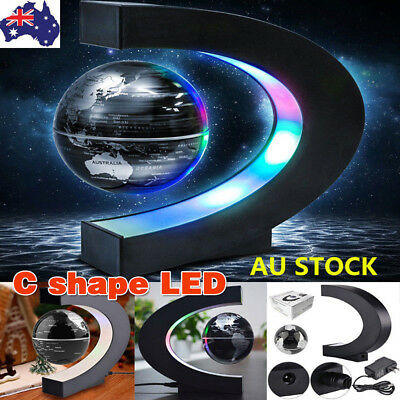 C shape LED World Map Decoration Magnetic Levitation Floating Globe Light BX