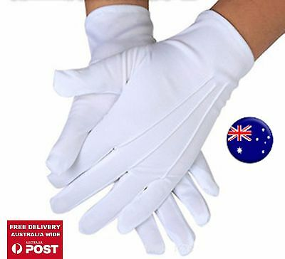 AU Men Lady white Stripe Party Fancy Costume Magician Driving SHORT Satin Gloves