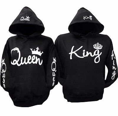 King And Queen Hoodies Valentine New Matching Cute Love Couples Jumper