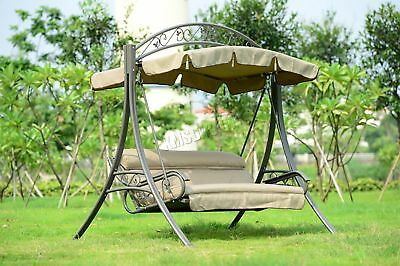 FoxHunter Garden Metal Swing Hammock 3 Seater Chair Bench Patio Outdoor FHSC03