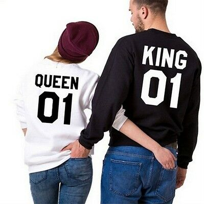 King 01 and Queen 01 - Love Matching Shirts - Couple Tee Tops Hoodie Long Sleeve