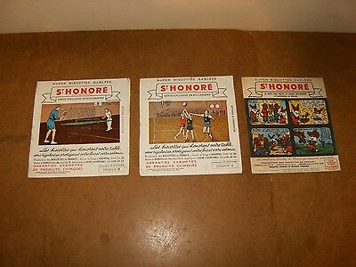 3 anciens buvards années 50 - biscottes ST. HONORE - ping pong + basket + Pinpin