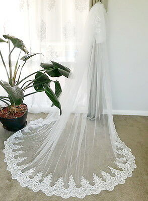 wv29 Soft Lace 3mx3m 2tier Chapel Cathedral Length Wedding Bridal Veil Comb