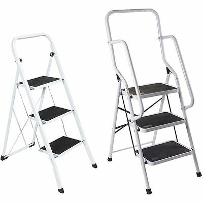 3 Step Ladder Safety Anti Slip Rubber Mat Tread Handrail Steel Folding Frame DIY