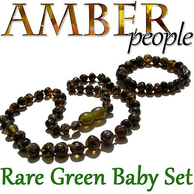 Rare Dark Green Baltic Amber Baby Child Necklace & Bracelet Set