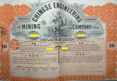 China  Chinese Engineering &  Mining Compagy    10 Bearer Shares of £1 each