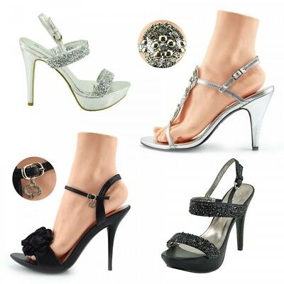 Ladies womens high heel diamante sandals,party night out high heel sandals shoe