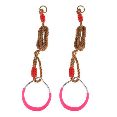 2pcs Iron Gymnastic Rings Straps Buckle Cross Fit Strength Training Kit Pink