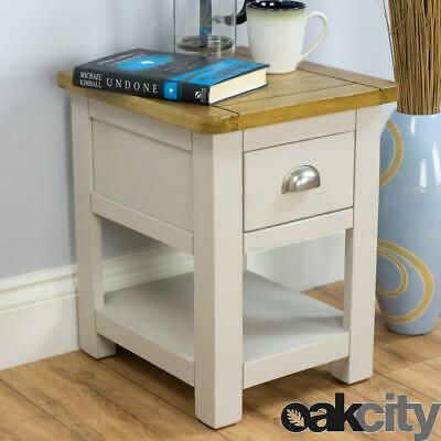 Wellington Lamp Table / Painted Grey Side With 1 Drawer / Solid Oak Top