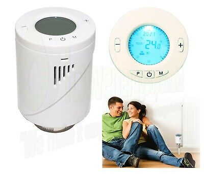 Electronic TRV Radiator Thermostat Valve Digital Programmable Head Thermostatic