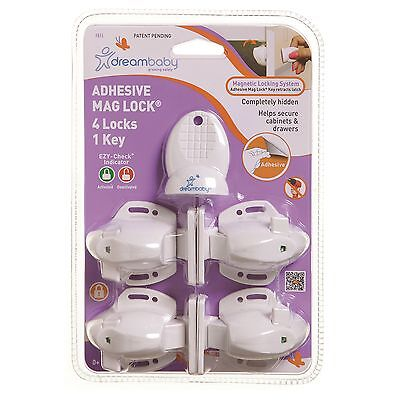 Dreambaby ADHESIVE MAG LOCK Secures Cabinets & Drawers *AUS Brand - 4 Or 8 Pcs