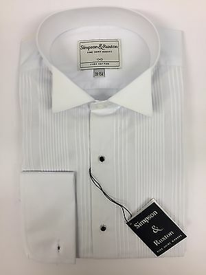 Simpson & Ruxton Pleated Front Wing Collar Shirt
