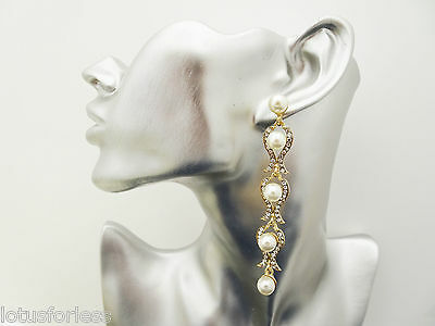 Elegant Long Dangle Drop Earrings Gold Tone with Diamante and Pearls Bridal Prom