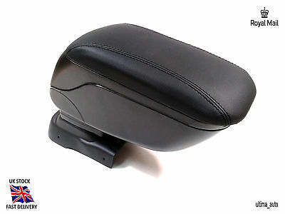 Black Leather Padded Armrest Center Specific Fit For Vauxhall Opel Corsa D 06+