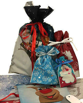 GiftMate 30 Piece Christmas Drawstring Gift Bags, with gift tags