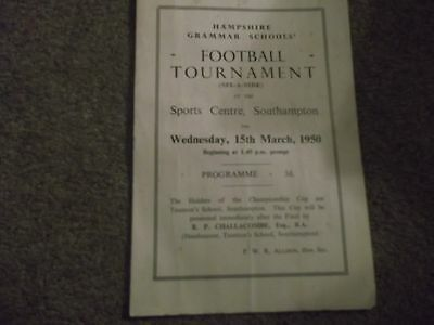 Rare Hampshire Grammar Schools 6 A Side Football Tournament @ Southampton 1950